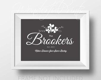 Family Gift Idea Glicee Custom Family Name Print, Family Tree Print, Family Name Typography, Family Name Sign Last Name Brooker