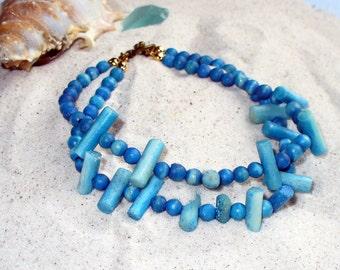 Turquoise Bracelet, Beach Bracelet, Wood Bead, Two Strand Bracelet, Summer Bracelet, Repurposed Bracelet, MarjorieMae