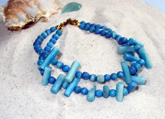 Turquoise Bracelet, Beach Bracelet, Wood Bead Two Strand Bracelet, Summer Bracelet, Repurposed Bracelet