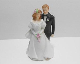 Vintage Porcelain Traditional Bride Groom Wedding Cake Topper Enesco 1989