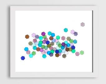 Blue Hexagon Printable Watercolor Art
