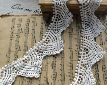White Lace Trim CottonTrim 1.57 Inch Wide 1 Yard H034