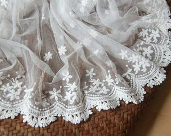 White Star Floral Lace Trim Embroidery Tulle Lace Trim 15.74 Inches Wide 1 Yard L0223