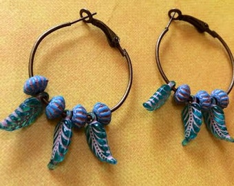 Turquoise and Bronze Feather Beaded Earrings