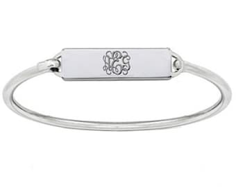 Monogram Bracelet Personalized Bar Choose any Initial made with 925 sterling silver