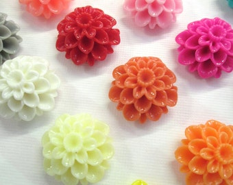 10 21mm resin chrysanthemum cabochons, pick your color