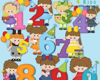 Birthday Girl Numbers Digital Clipart - Clip art for scrapbooking, party invitations - Instant Download Clipart Commercial Use