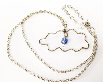 Raindrop Cloud Wire Worked Silver Plated Copper Necklace with Single Blue Plastic Semi Clear Bead