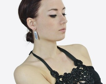 Art Deco  Sterling Silver Earrings Rectangular DEC 48