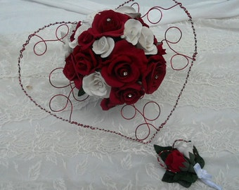 Rose bouquet heart wire alu, cold porcelain and offered matching buttonhole