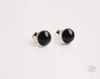 Black onyx gemstone 6mm round studs sterling silver earrings