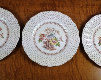 3 Bread and Butter Plates Royal Doulton Grantham D5477 Pattern ~ Made in England ~ China Tapas Plates ~ Vintage Appetize Plates
