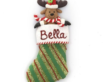 Personalised Reindeer Stocking Decoration