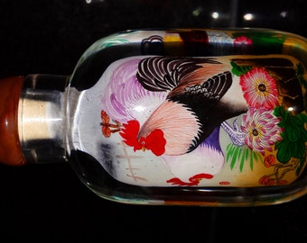 Vintage Chinese Snuff Bottle  , Reverse Painting