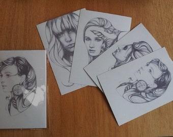 Set of four A6 miniprints