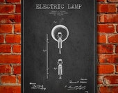 1880 Thomas Edison Electric Lamp Patent Canvas Print, Wall Art, Home Decor, Gift Idea