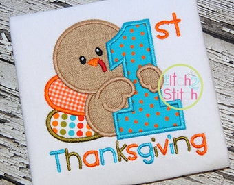 Baby's First Thanksgiving Embroidered Shirt FREE Personalization