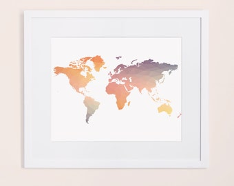 Colorful world map print, pastel world map poster, printable wall art, pastel poster, geometrical world map print, rainbow wall art,