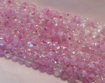 25 6mm Czech glass beads, light pink crystal firepolished faceted round beads