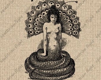 INSTANT DOWNLOAD Printable Snake Image Snake Woman Snake Graphics Snake Print Circus Antique Images Digital College Sheet Download 300dpi HQ
