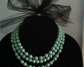 Pale Mint Green Beaded Necklace