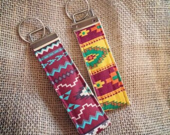 Aztec Print Fabric Wristlet Keyfob