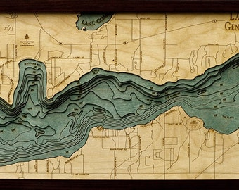 Wood Chart of Lake Geneva, Wisconsin, 13.5x31 - Medium