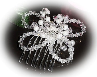 Beautiful butterfly crystal, rhinestone and faux pearl bridal hair comb perfect for bridesmaids