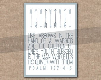 INSTANT DOWNLOAD - 8x10 Scripture Print - Psalm 127:4-5 - Bible Verse Wall Art Decor