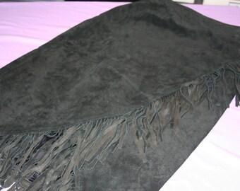 Black Leather Wrap Skirt with Fringe
