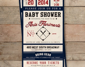 Vintage Baseball Ticket Baby Shower Invitation - Personalized, Boy or Girl, Printable Digital File
