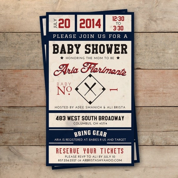 vintage baseball ticket baby shower invitation personalized, Baby shower