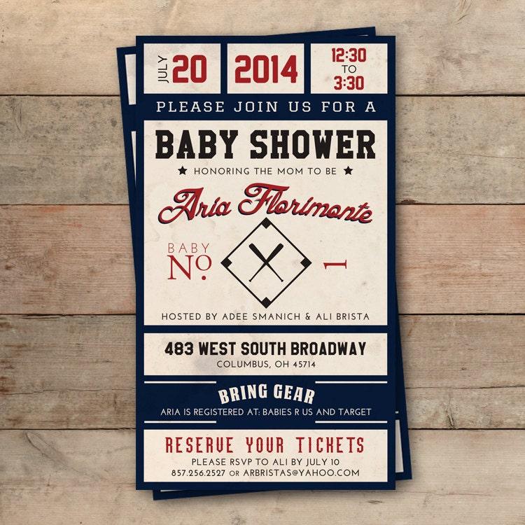 Vintage Baseball Ticket Baby Shower Invitation Personalized