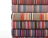 Stripy Cotton Fabric BOHO Bohemian fabric Upholstery fabric Bag Purse Cushion Fabric- 1/2 Yard  - 1/2 yard