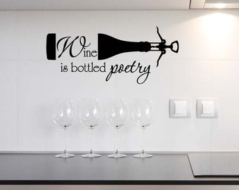 Wine is bottled poetry cute Vinyl Wall Decal Lettering Saying Quote Stencil Art