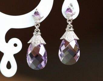 Vintage Inspired Pear Amethyst Drop Earrings in 925 Sterling Silver February Birthstone Earrings Purple Amethyst Dangling Gemstone Earrings