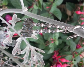 Elegant Black diamond Swarovski Crystal and sterling silver drop earrings.