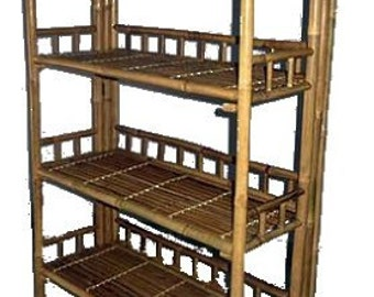 """Folding Bamboo Shelf, Handcrafted Wih Solid Bamboo, 60""""w x 16""""d x 65""""h, BRS-48F"""