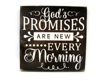 Christian Rustic Wood Sign Wall Hanging Home Decor - God's Promises are New Every Morning (#1284)