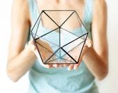 Geometric Glass Terrarium / Icosahedron / Handmade Glass Terrarium / Modern Planter for Indoor Gardening / Stained Glass Terrarium