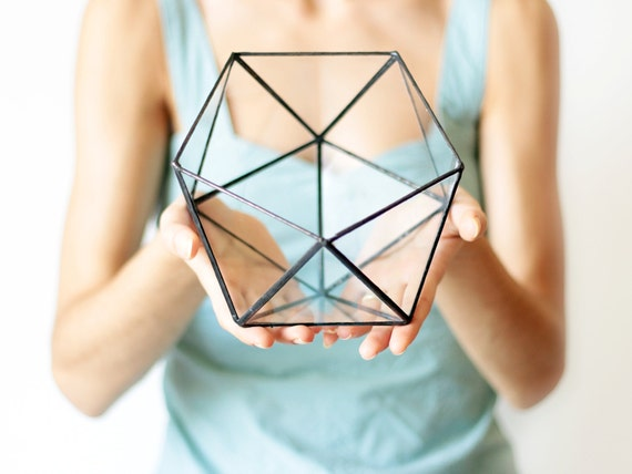 Geometric Glass Terrarium / Icosahedron / Handmade Glass Terrarium / Modern Planter for Indoor Gardening / Stained Glass Terrarium