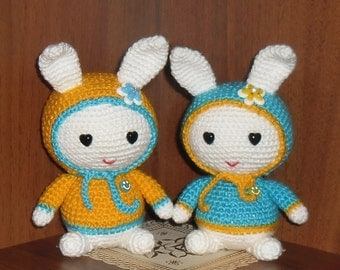 White hare in blue yelow jacket, ukrainian colors. FREE SHIPPING.