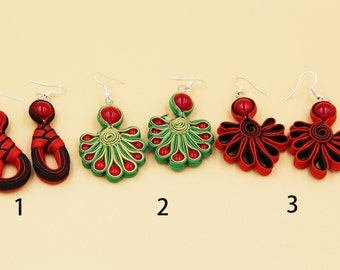 Ceramic Jewelry-hand Weaving Earrings With Ceramic Beads, Red, Black, Green, Gold