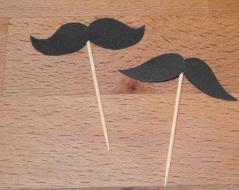 12 x moustache wedding cupcake toppers sticks picks flags