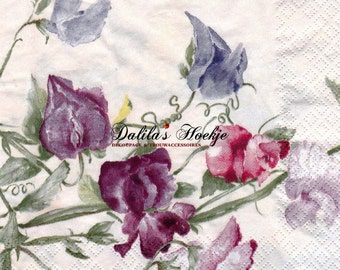"Set of 2(two) pieces -  Decoupage napkins  - ""Sweet Pea""  (cream)  33x33cm"