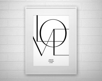 Typography Art Print - LOVE - Poster - Printable - Wall Art