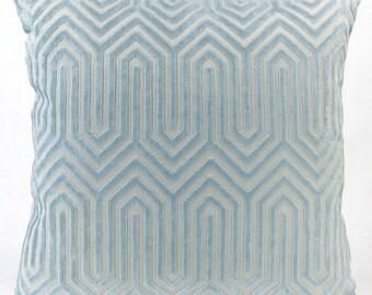 Porcelain Blue Velvet Euro Sham - Light Blue Eileen K. Boyd Designer Throw Pillow, Decorative Pillow Hollywood Regency Modern