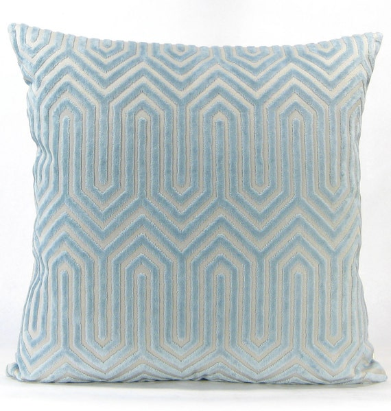 Light Blue And Gold Throw Pillows : Porcelain Blue Velvet Euro Sham Light Blue Eileen K. Boyd