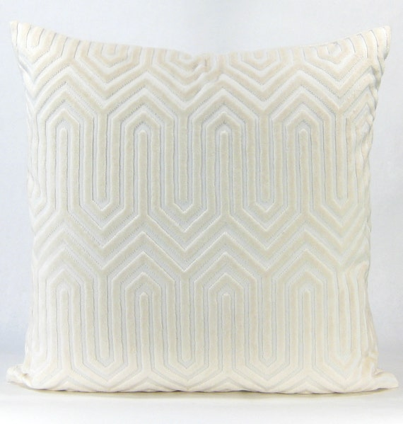 Beige Cream Velvet Pillow Designer Euro by DecordeauxBoutique