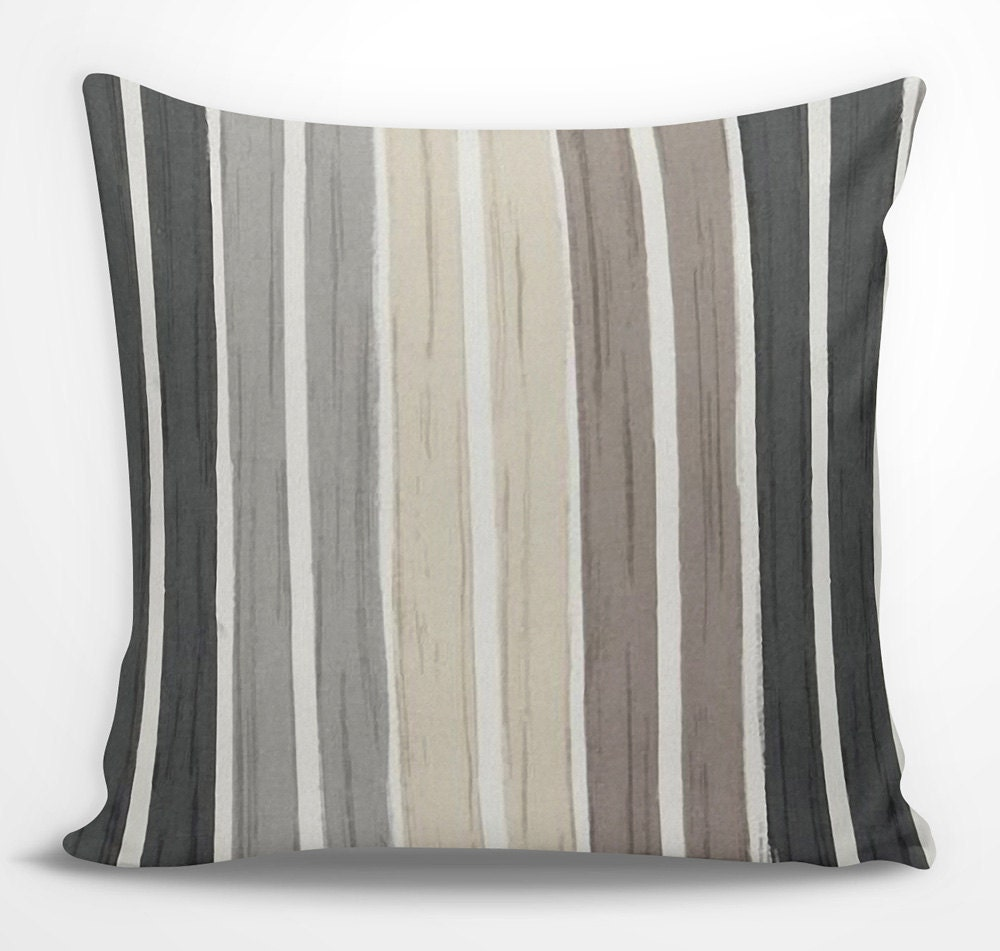 Brown striped decorative pillow black gray by for Brown and gray throw pillows